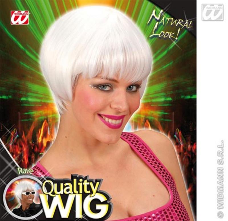 White Bob Wig With Fringe Rave Nu Rave Emo Festival Fancy Dress