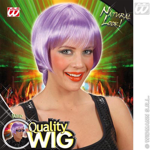 Neon Lilac Bob Wig With Fringe Nu Rave Emo Festival Fancy Dress