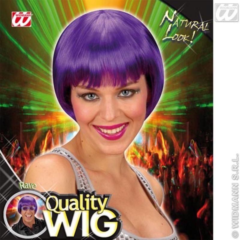 Neon Purple Bob Wig With Fringe Nu Rave Emo Festival Fancy Dress