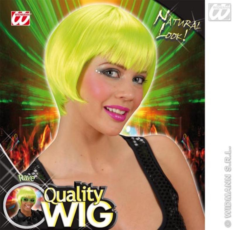 Neon Green Bob Wig With Fringe Nu Rave Emo Festival Fancy Dress