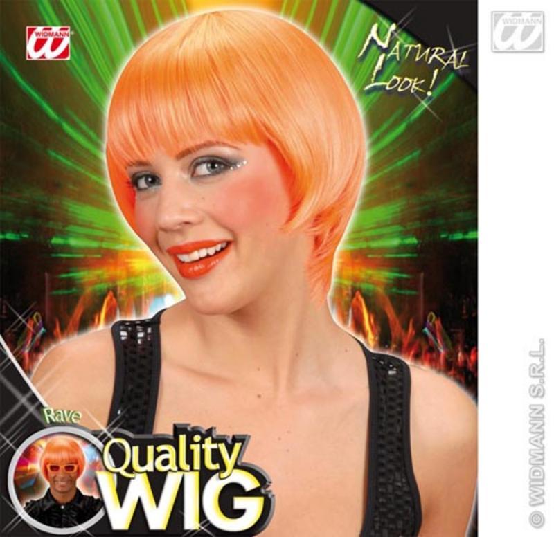 Neon Orange Bob Wig With Fringe Nu Rave Emo Festival Fancy Dress