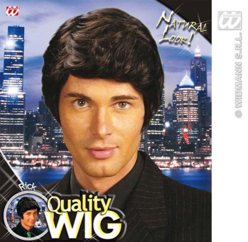 Thick Short Black Male Wig Side Parting Boy Band Fancy Dress
