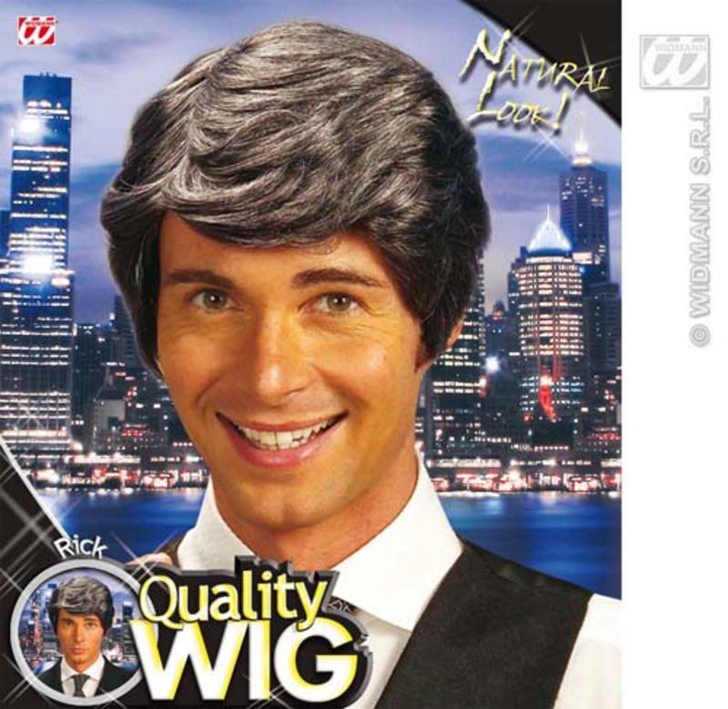 Dark Grey Male Wig Side Parting Wavy Silver Fox Fancy Dress