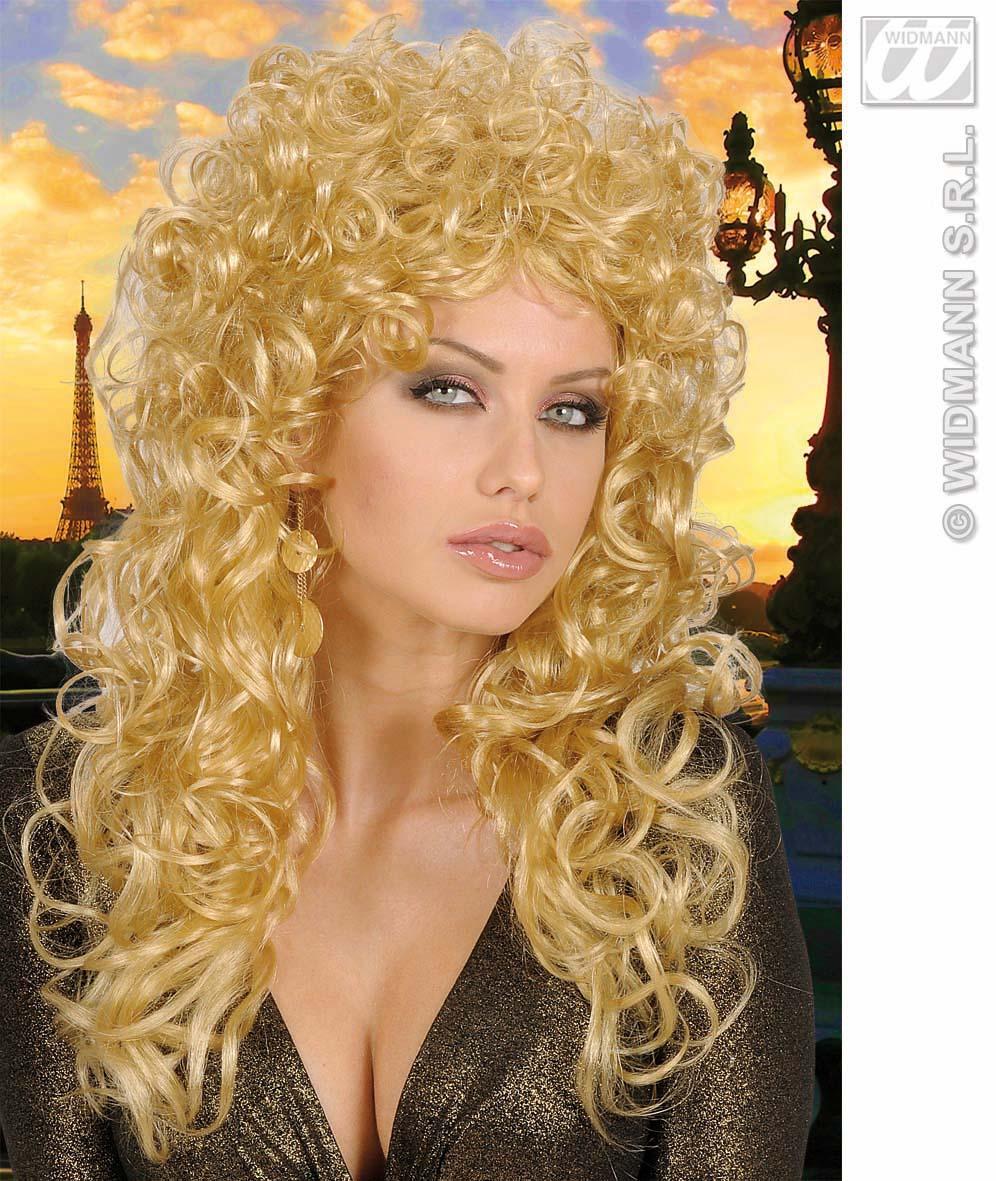 Ladies Long Blonde Curly Wig Country Western Star 80 S Rocker