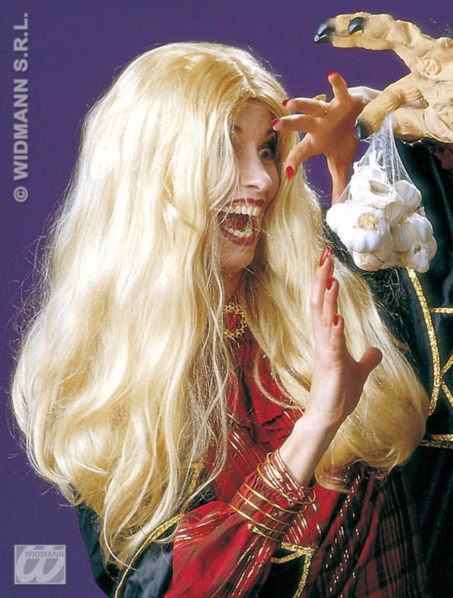 Ladies Long Blonde Halloween Wig With Accessory Scary Witch Zombie Fancy Dress
