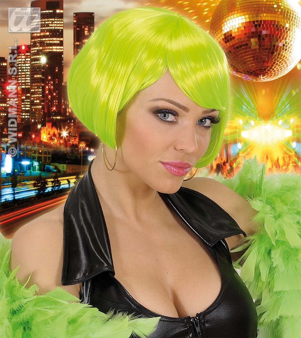 Ladies Neon Green Bob Wig Punk Emo Disco Nu Rave Raver Fancy Dress