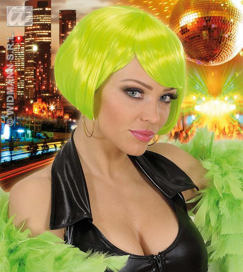 Ladies Neon Green Bob Wig Punk Emo Disco Nu Rave Raver Fancy Dress
