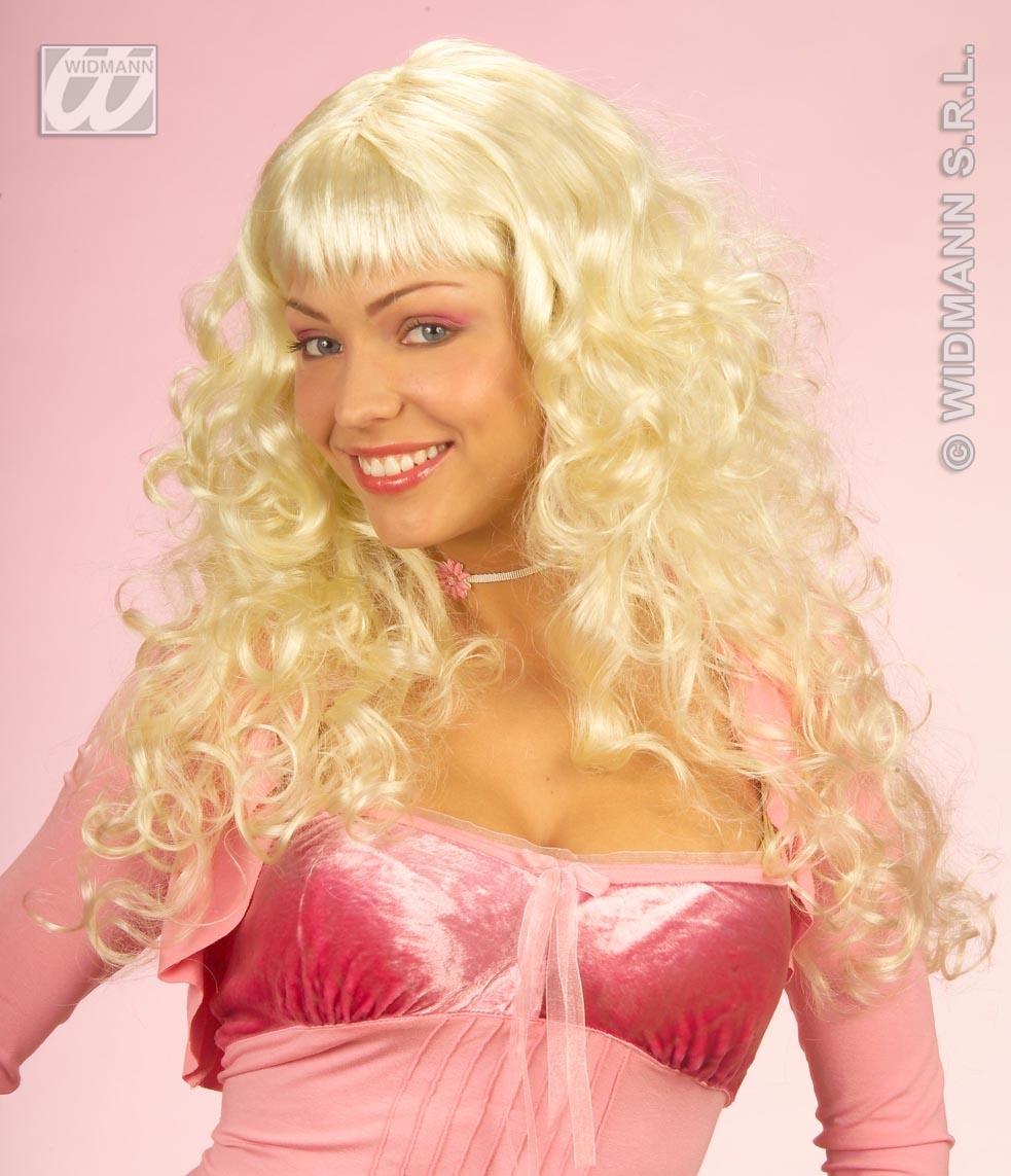 Ladies Long Blonde Curly Wig Fairy Princess Porn Star Angel Fancy Dress
