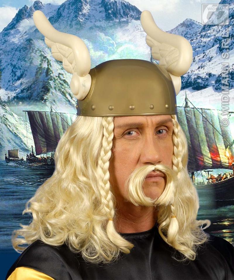 Mens Long Blonde Viking Wig With Moustache Troy Troll Fancy Dress
