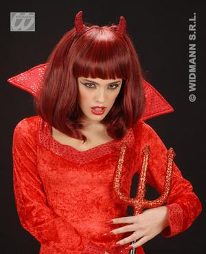 Ladies Red Bob Wig Devil Style With Horns Halloween Vampire Fancy Dress