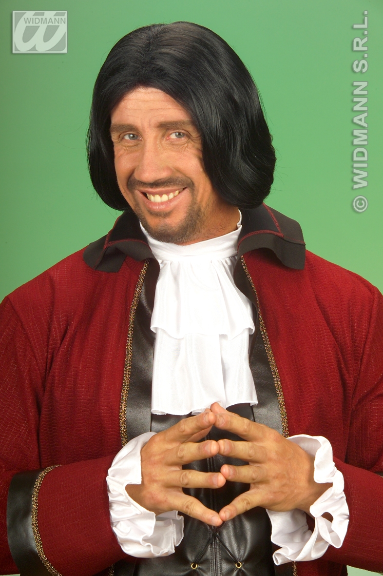 Mens Black Bob Wig Medieval Prince Charming Muskateer Pirate Fancy Dress