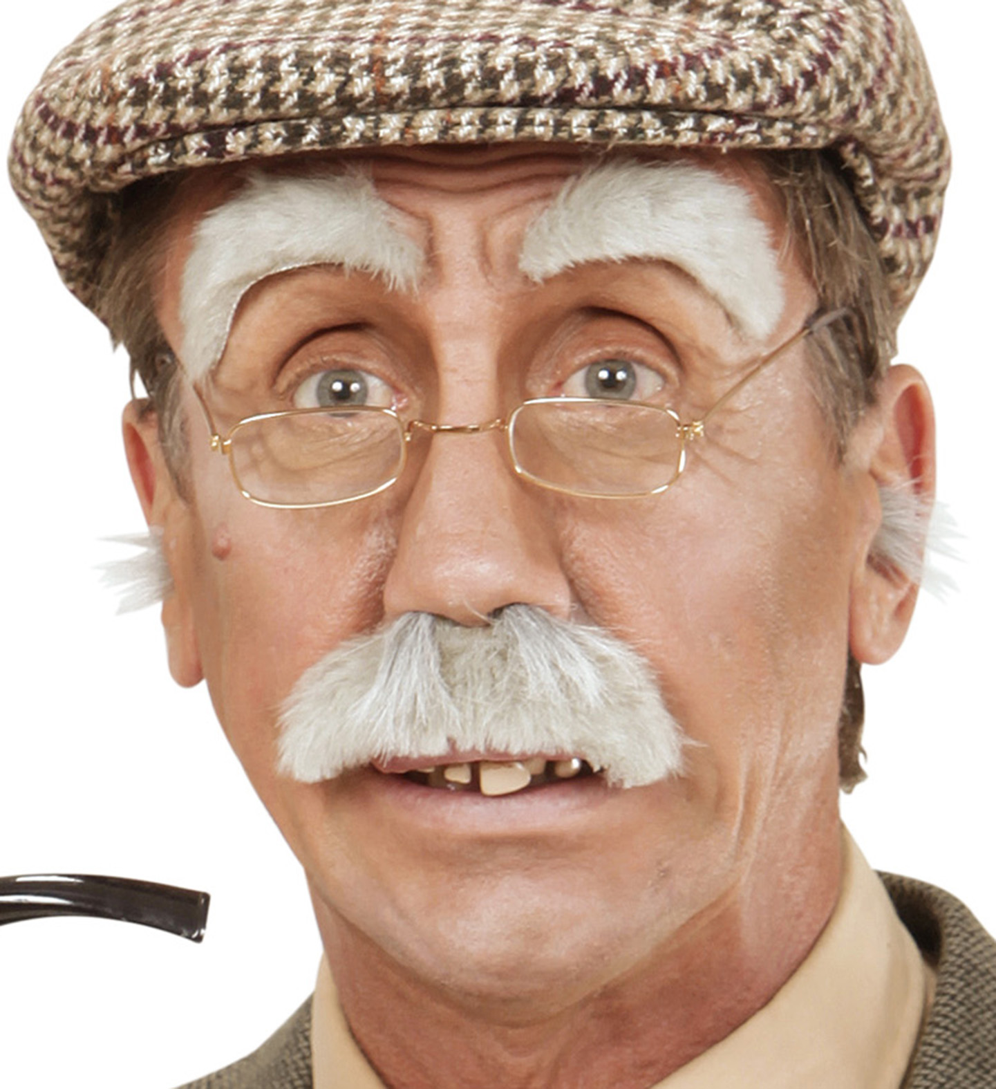 Fancy Dress OAP Old Man Granddad Glasses With Chain Mustache And Beard