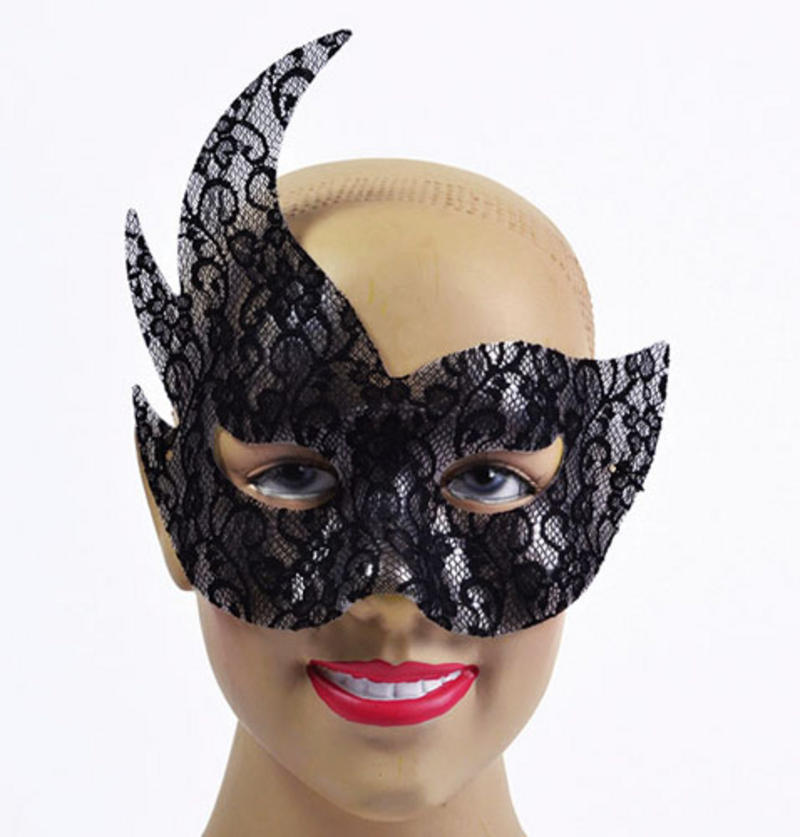 Black Lace Eye Mask Side Point Masquerade Ball Venetian Fancy Dress