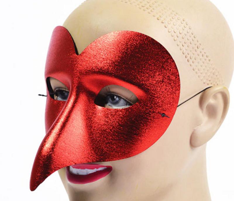 Red Metallic Eye Mask Venetian Masquerade Ball Fancy Dress