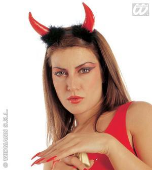 Vinyl & Marabou Red Devil Horns Demon Halloween Fancy Dress