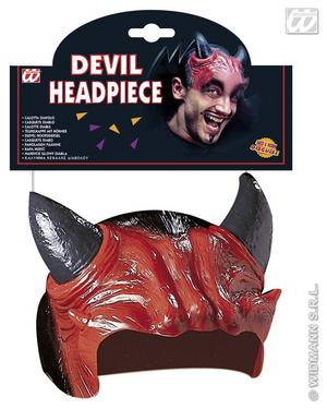Red Devil Headpiece With Horns Demon Halloween Fancy Dress