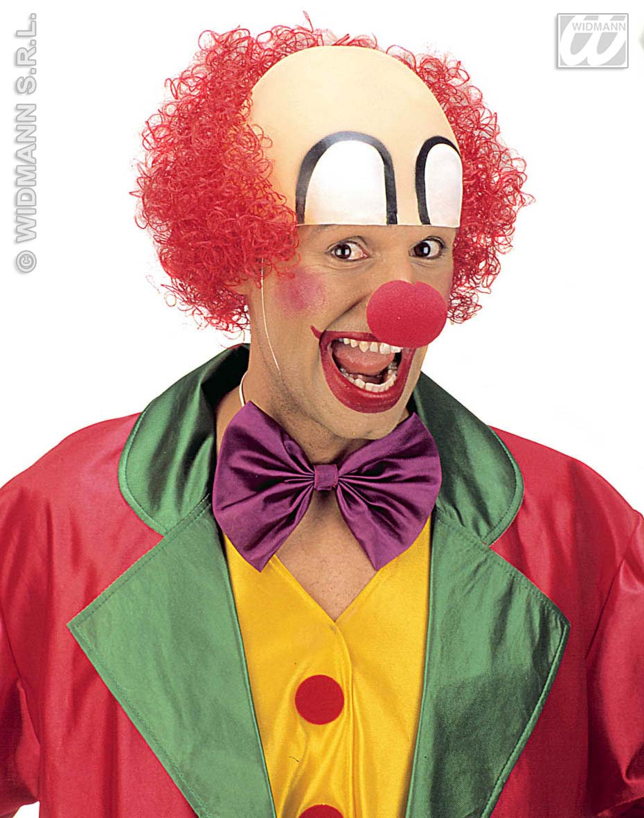 Bald Clown Headpiece With Red Hair Circus Halloween Fancy Dress