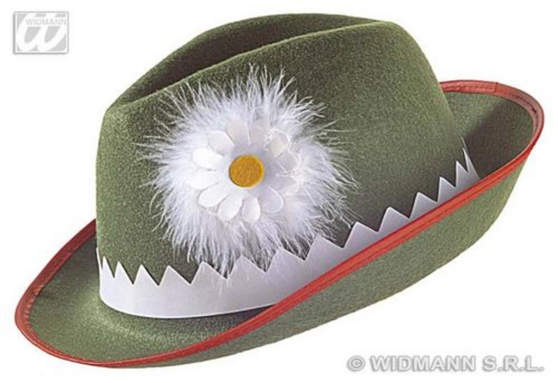 Green Felt Tyrolean Hat With Daisy Bavarian Alpine Cap German Fancy Dress
