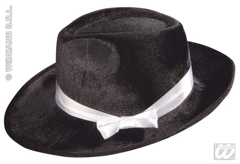 Black Velvet Gangster Hat With Ribbon Michael Jackson Fancy Dress