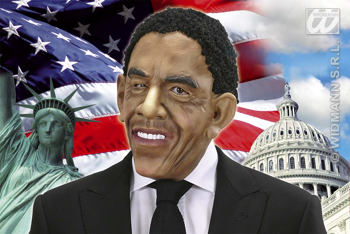 Barack Obama Mask With Black Wig Hair Presidential Halloween Fancy Dress