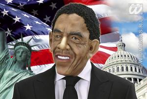 Barack Obama Mask With Black Wig Hair Presidential Halloween Fancy Dress