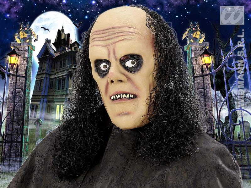 Scary Undertaker Old Man Mask With Black Wig Hair Halloween Fancy Dress