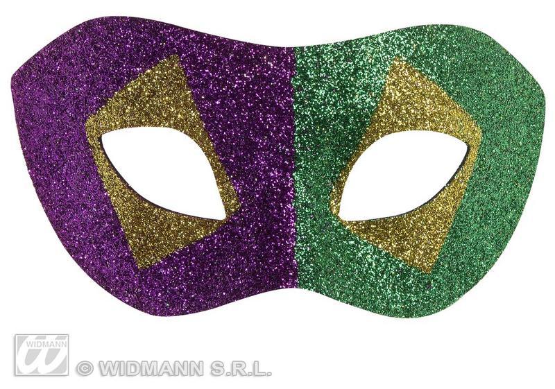 Multi Coloured Mardi Gras Glitter Eye Mask Masquerade Ball Fancy Dress