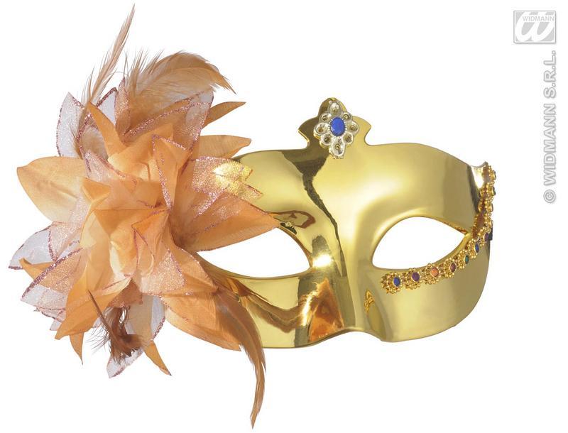 Metallic Gold Eye Mask With Flower Venetian Masquerade Ball Fancy Dress