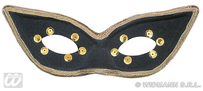 Black Carnival Eye Mask Eyemask With Gold Detail Masquerade Ball Fancy Dress