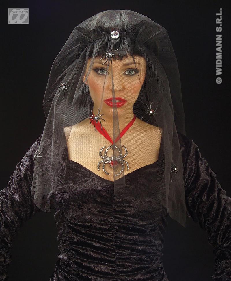 Scary Corpse Bride Vampiress Witch  Black Spider Veil Halloween Fancy Dress