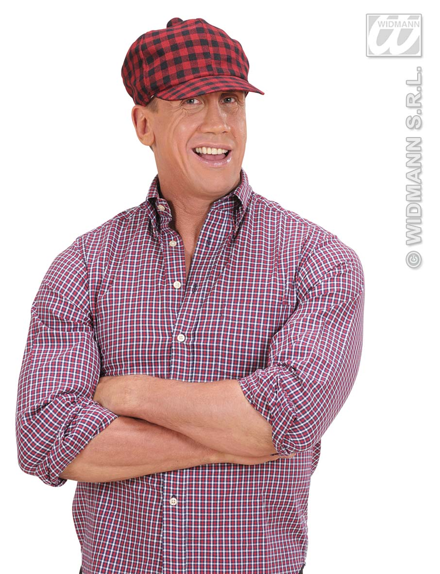 Red And Black Checkered Chequered Baker Boy Cap Hat Pub Golf Fancy Dress