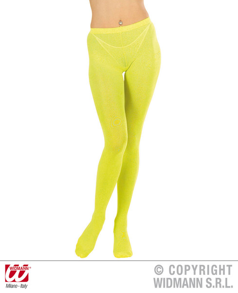 Womens Neon Yellow Tights Fairy Fancy Dress Costume Outfit Accessory Xl