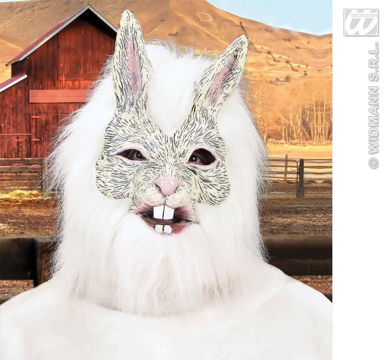White Rabbit Mask With Hair Wererabbit Halloween Fancy Dress