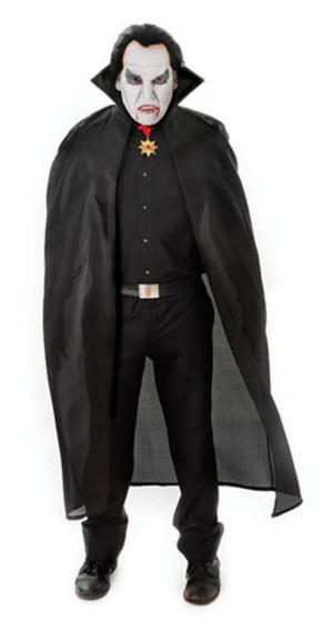 Black Dracula Cape With Collar Gothic Vamipre Halloween Fancy Dress