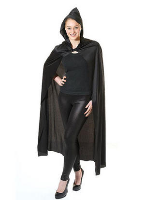 Black Hooded Cape Gothic Grim Reaper Ghost Witch Halloween Fancy Dress