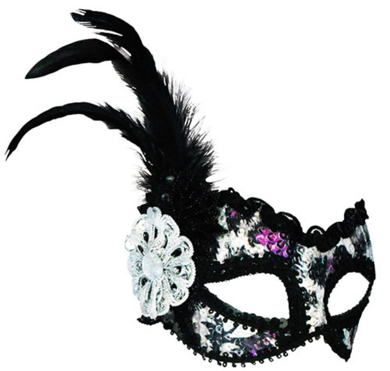 Silver Purple Sequin Eye Mask Masquerade Ball Halloween Fancy Dress