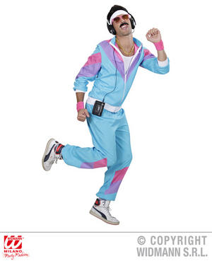 Mens Blue 80S Shell Suit Retro 1980S Sportswear Fancy Dress Costume Outfit Xxl