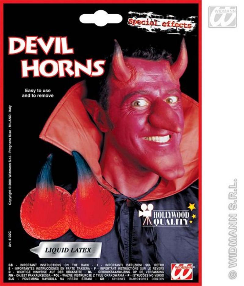 Red Devil Horns & Adhesive Demon Monster Satan Halloween Fancy Dress