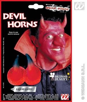 Red Devil Horns & Adhesive Demon Monster Satan Halloween Fancy Dress
