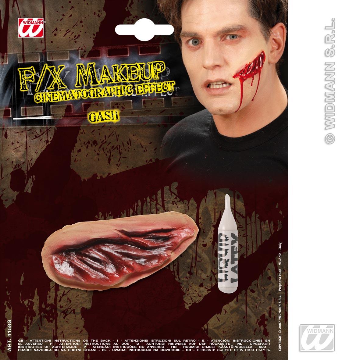 Movie Effect Gashes Flesh Wound Horror Halloween Fancy Dress
