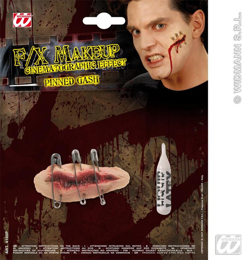 Movie Effect Saftey Pinned Gashes Wounds Halloween Fancy Dress