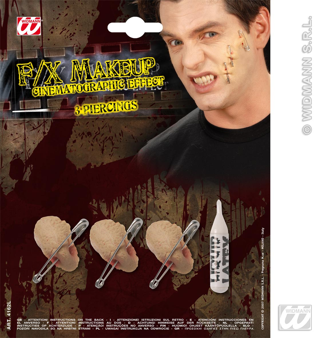 Movie Effect 3 Piercings Punk Halloween Fancy Dress