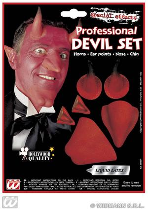 Red Devil Set Nose Chin Horns Ears Halloween Fancy Dress Kit