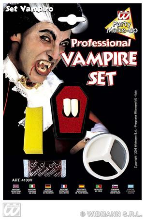 Dracula Vampire Make Up & Teeth Set Halloween Fancy Dress Kit