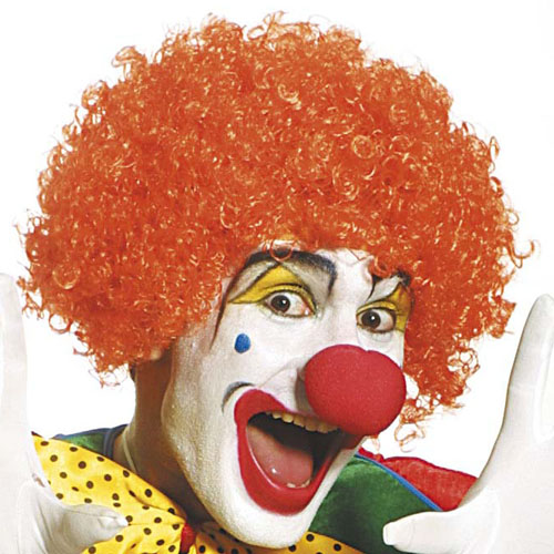 Curly Orange Afro Wig Circus Clown Comic Relief Fancy Dress