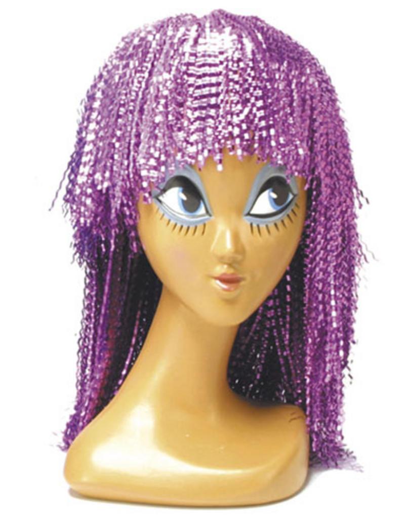 Ladies Short Pink Crinkle Wig Rast Cyber Disco Nu Rave Cleopatra Fancy Dress
