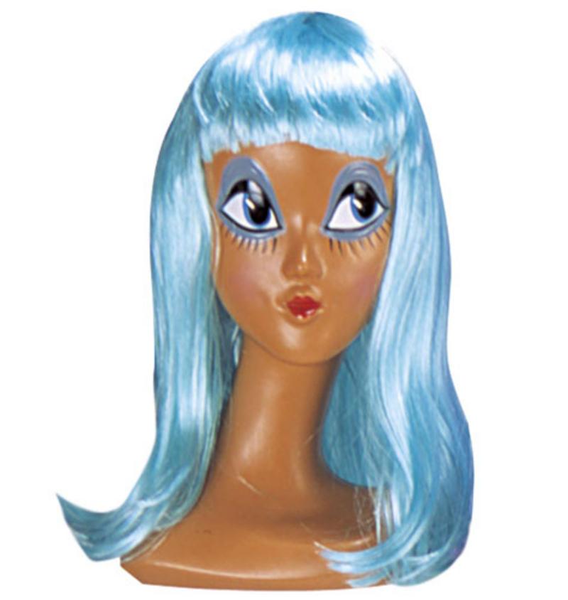 Ladies Long Neon Blue Wig With Fringe Cheerleader Lady Gaga Fancy Dress