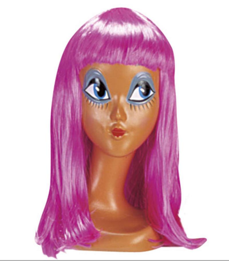 Ladies Long Neon Pink Wig With Fringe Cheerleader Lady Gaga Fancy Dress