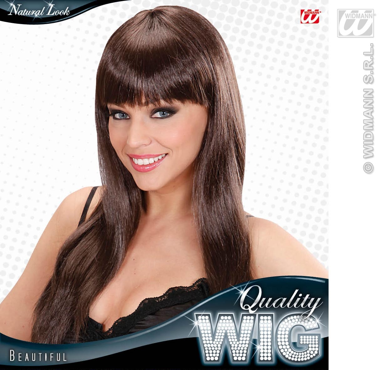 Ladies Long Brown Wig With Fringe Beautiful Diva Celebrity Style Fancy Dress