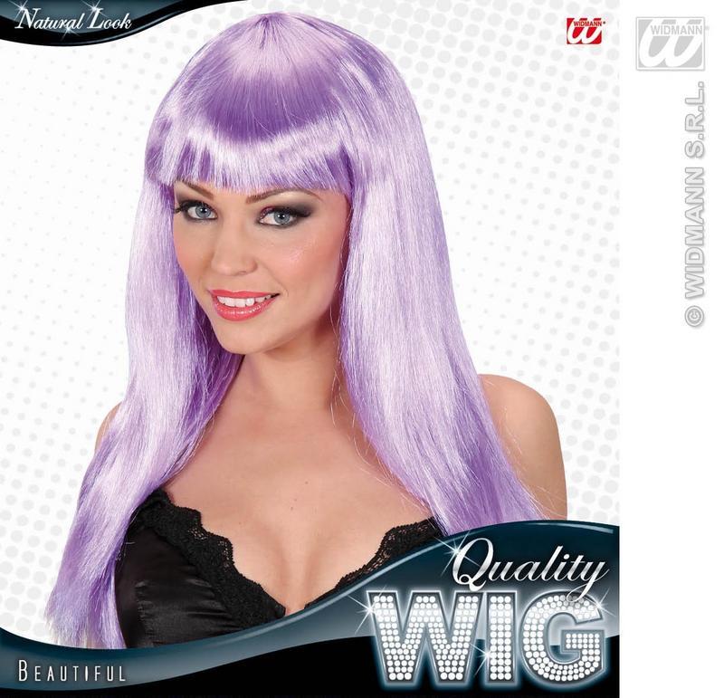 Ladies Long Lilac Wig With Fringe Beautiful Diva Lady Gaga Style Fancy Dress